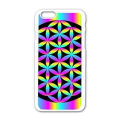 Flower Of Life Gradient Fill Black Circle Plain Apple Iphone 6/6s White Enamel Case by Simbadda