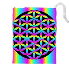 Flower Of Life Gradient Fill Black Circle Plain Drawstring Pouches (xxl) by Simbadda