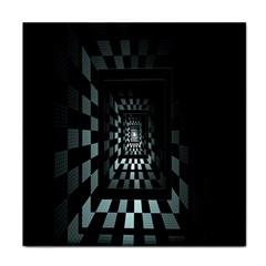 Optical Illusion Square Abstract Geometry Tile Coasters by Simbadda