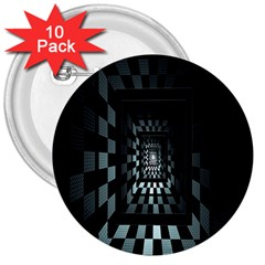 Optical Illusion Square Abstract Geometry 3  Buttons (10 Pack)  by Simbadda