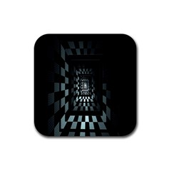 Optical Illusion Square Abstract Geometry Rubber Square Coaster (4 Pack)  by Simbadda