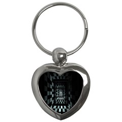 Optical Illusion Square Abstract Geometry Key Chains (heart)  by Simbadda