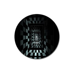Optical Illusion Square Abstract Geometry Magnet 3  (round) by Simbadda