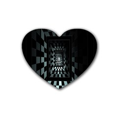 Optical Illusion Square Abstract Geometry Rubber Coaster (heart)  by Simbadda