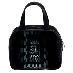 Optical Illusion Square Abstract Geometry Classic Handbags (2 Sides) by Simbadda