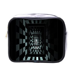 Optical Illusion Square Abstract Geometry Mini Toiletries Bags by Simbadda