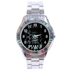 Optical Illusion Square Abstract Geometry Stainless Steel Analogue Watch by Simbadda