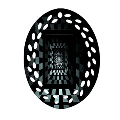 Optical Illusion Square Abstract Geometry Oval Filigree Ornament (two Sides) by Simbadda