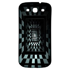 Optical Illusion Square Abstract Geometry Samsung Galaxy S3 S Iii Classic Hardshell Back Case by Simbadda