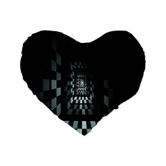 Optical Illusion Square Abstract Geometry Standard 16  Premium Heart Shape Cushions by Simbadda