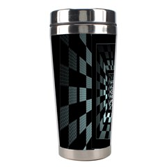 Optical Illusion Square Abstract Geometry Stainless Steel Travel Tumblers by Simbadda