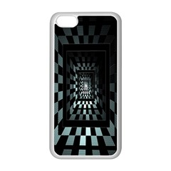 Optical Illusion Square Abstract Geometry Apple Iphone 5c Seamless Case (white) by Simbadda