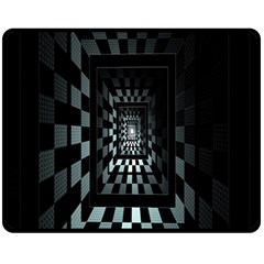 Optical Illusion Square Abstract Geometry Double Sided Fleece Blanket (medium)