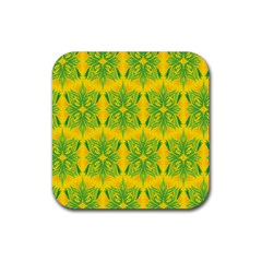 Floral Flower Star Sunflower Green Yellow Rubber Square Coaster (4 Pack)  by Alisyart