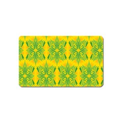 Floral Flower Star Sunflower Green Yellow Magnet (name Card) by Alisyart