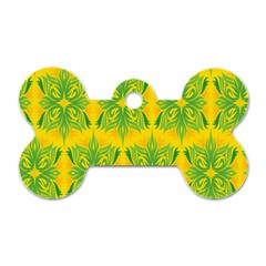 Floral Flower Star Sunflower Green Yellow Dog Tag Bone (two Sides) by Alisyart