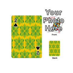 Floral Flower Star Sunflower Green Yellow Playing Cards 54 (mini)  by Alisyart