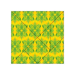Floral Flower Star Sunflower Green Yellow Acrylic Tangram Puzzle (4  X 4 ) by Alisyart