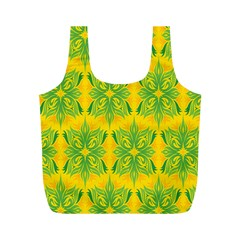 Floral Flower Star Sunflower Green Yellow Full Print Recycle Bags (m)  by Alisyart