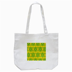 Floral Flower Star Sunflower Green Yellow Tote Bag (white) by Alisyart