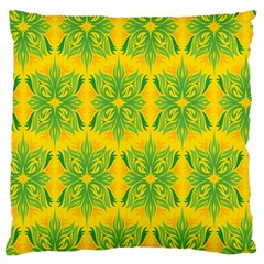 Floral Flower Star Sunflower Green Yellow Large Flano Cushion Case (two Sides) by Alisyart