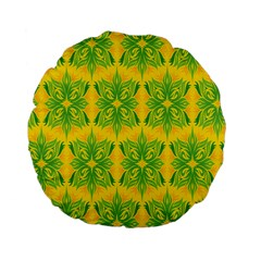 Floral Flower Star Sunflower Green Yellow Standard 15  Premium Flano Round Cushions by Alisyart