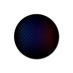 Hexagon Colorful Pattern Gradient Honeycombs Rubber Coaster (round)  by Simbadda