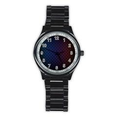 Hexagon Colorful Pattern Gradient Honeycombs Stainless Steel Round Watch by Simbadda