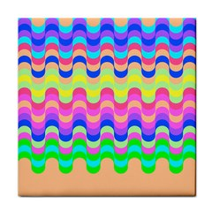 Dna Early Childhood Wave Chevron Woves Rainbow Tile Coasters by Alisyart