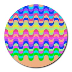 Dna Early Childhood Wave Chevron Woves Rainbow Round Mousepads by Alisyart
