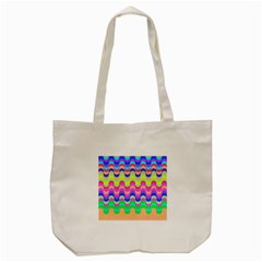 Dna Early Childhood Wave Chevron Woves Rainbow Tote Bag (cream) by Alisyart