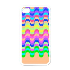 Dna Early Childhood Wave Chevron Woves Rainbow Apple Iphone 4 Case (white) by Alisyart