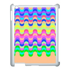 Dna Early Childhood Wave Chevron Woves Rainbow Apple Ipad 3/4 Case (white) by Alisyart
