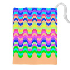 Dna Early Childhood Wave Chevron Woves Rainbow Drawstring Pouches (xxl) by Alisyart