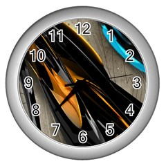 Abstract 3d Wall Clocks (silver)  by Simbadda