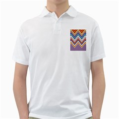 Chevron Wave Color Rainbow Triangle Waves Grey Golf Shirts by Alisyart