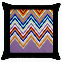 Chevron Wave Color Rainbow Triangle Waves Grey Throw Pillow Case (black) by Alisyart