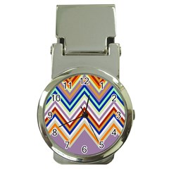 Chevron Wave Color Rainbow Triangle Waves Grey Money Clip Watches by Alisyart