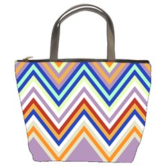 Chevron Wave Color Rainbow Triangle Waves Grey Bucket Bags by Alisyart