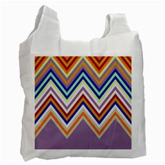 Chevron Wave Color Rainbow Triangle Waves Grey Recycle Bag (two Side)  by Alisyart