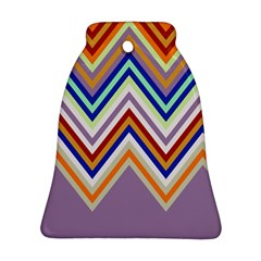 Chevron Wave Color Rainbow Triangle Waves Grey Ornament (bell) by Alisyart