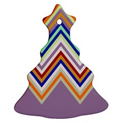 Chevron Wave Color Rainbow Triangle Waves Grey Christmas Tree Ornament (two Sides) by Alisyart