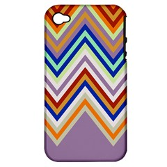 Chevron Wave Color Rainbow Triangle Waves Grey Apple Iphone 4/4s Hardshell Case (pc+silicone) by Alisyart
