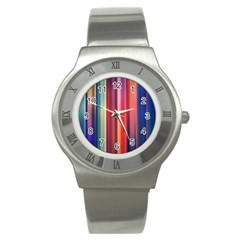 Texture Lines Vertical Lines Stainless Steel Watch by Simbadda