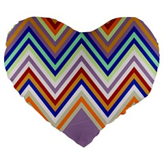 Chevron Wave Color Rainbow Triangle Waves Grey Large 19  Premium Flano Heart Shape Cushions by Alisyart