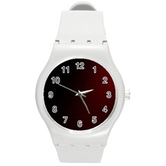 Abstract Dark Simple Red Round Plastic Sport Watch (m) by Simbadda