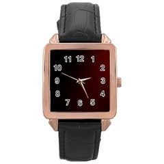 Abstract Dark Simple Red Rose Gold Leather Watch  by Simbadda