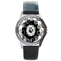 Fluctuation Hole Black White Circle Round Metal Watch by Alisyart