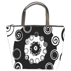 Fluctuation Hole Black White Circle Bucket Bags by Alisyart