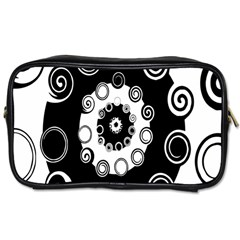 Fluctuation Hole Black White Circle Toiletries Bags by Alisyart